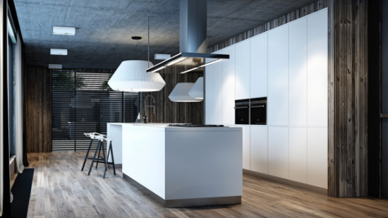 This industrial inspired kitchen in an open floorplan home uses plenty of wood to offset the dankness of a concrete ceiling. The white paneling , countertops, and flying sauceresque light fixture complete the look of contrasts.