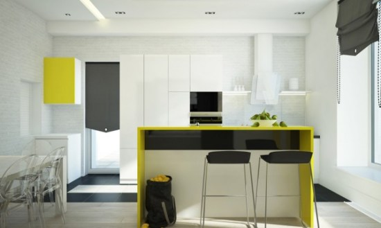 A lemony neon yellow runs the risk of feeling cartoonish, but the subtle accents in this kitchen are nothing if not sophisitcated. Set against shiny black and lucite, this kitchen is also youthful and fun.