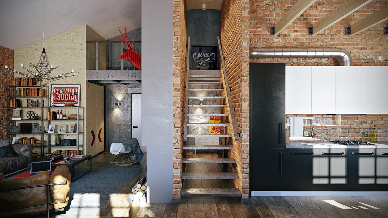 3 Stylish Industrial Inspired Loft Interiors