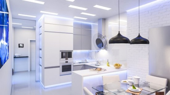 Another white on white kitchen, this one harkens back to our first entry in that it has the same futuristic vibe. Whitewashed brick, glass accents, and the somewhat eerie overhead lighting makes this kitchen really feel like it could be on Mars.