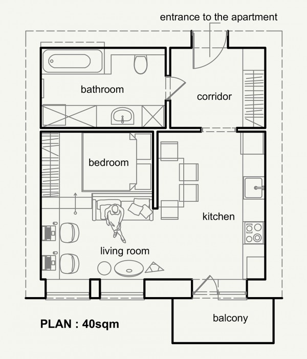 Living Small With Style 2 Beautiful Small Apartment Plans Under 500 Square Feet 50 Square Meters