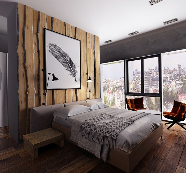 modern rustic bedroom Three Homes with a Contemporary Twist on Rustic Design