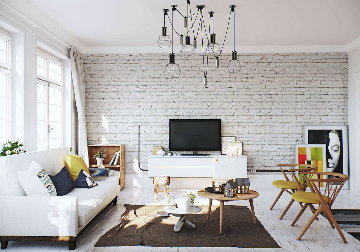 White Brick Wall Interior Design Ideas Home Design Ideas