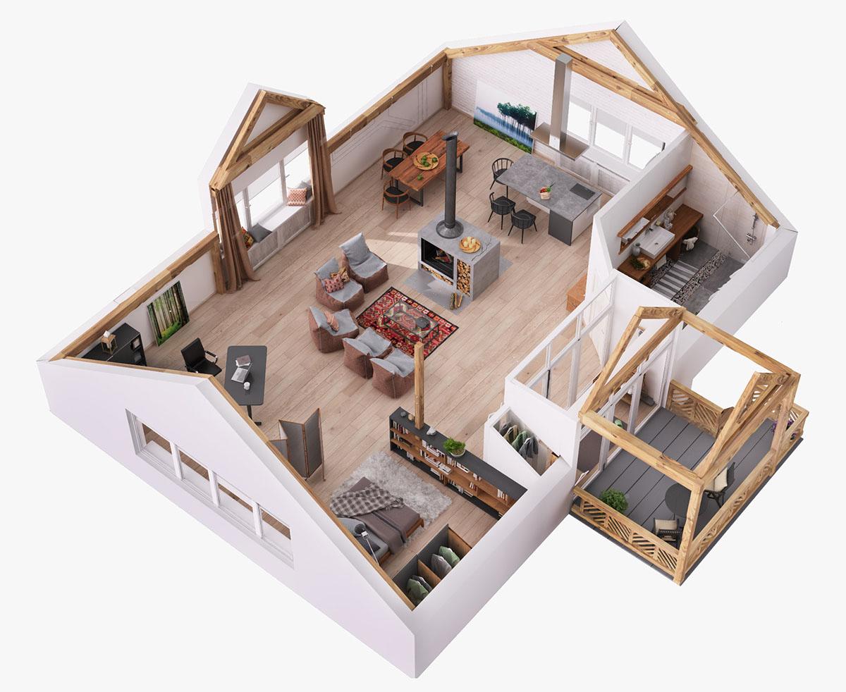 Attic Home Layout Interior Design Ideas