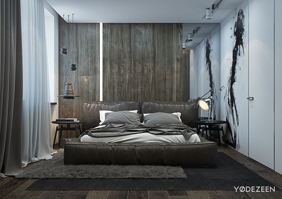 Bedroom Designs A Dark And Calming Bachelor Bad With Natural Wood And Concrete