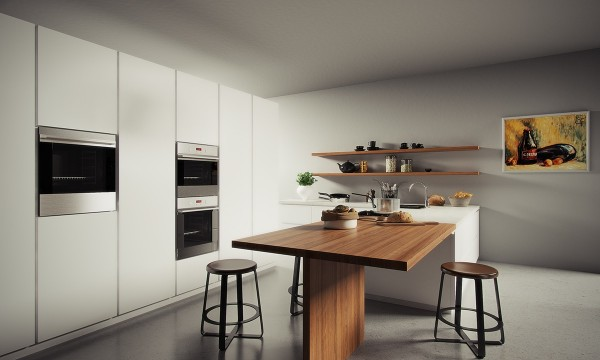 Finally, white and wood are a simple and stylish combination in this modern kitchen.