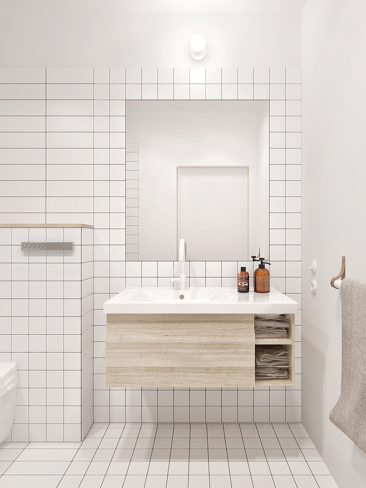 whitetilebathroom  Interior Design Ideas