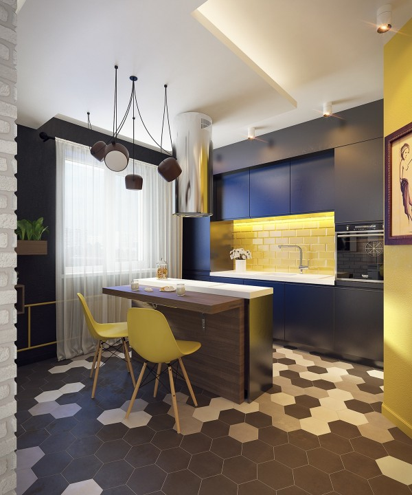 black-yellow-kitchen | Interior Design Ideas.