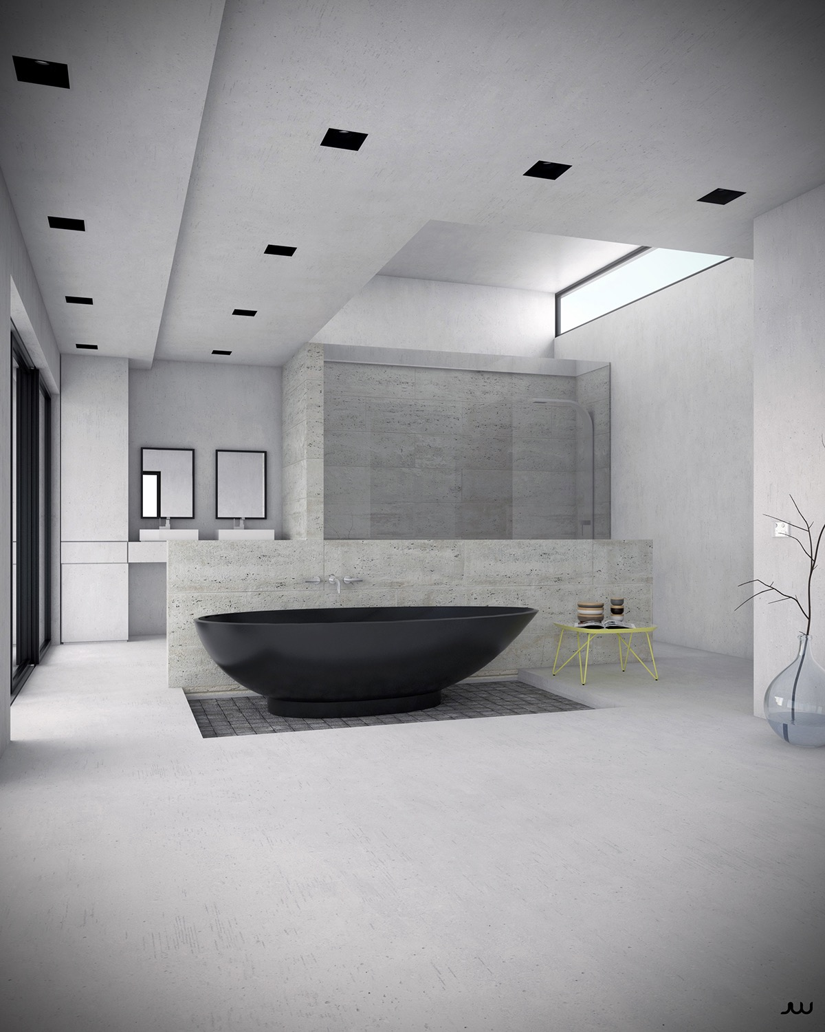 The smooth satin finish makes this black freestanding bathtub a delight to behold. The slightly recessed tile underneath is an especially inspiring touch.