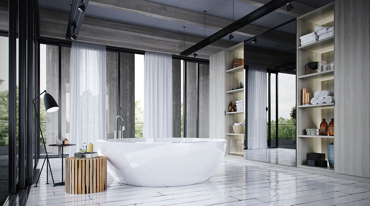 This glossy bathtub is the perfect piece to complete a bathroom graced with an abundance of natural light, but its minimalistic form could work well in almost any space.