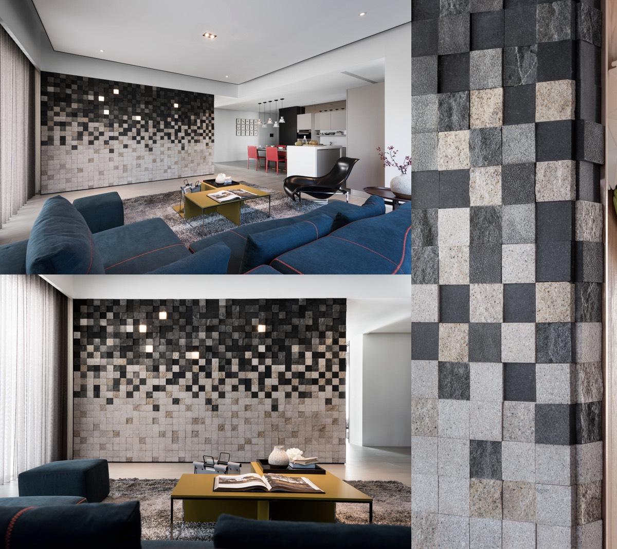 This gorgeous accent wall is a mosaic of highly textural tiles in shades of charcoal, brown, and gray. The tiles are set at varying depths for an even more dynamic effect - a very creative touch that makes the tiles look soft as wool.
