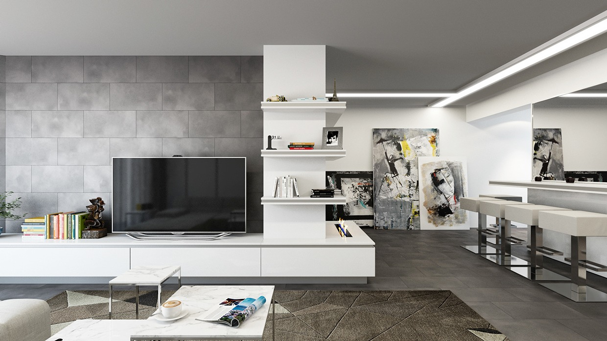These pewter-colored tiles have a slightly cloudy texture that contrasts well with the simple white and gray shelves, and their simple arrangement continues the emphasis on horizontal lines and rectangular forms present throughout the open space.