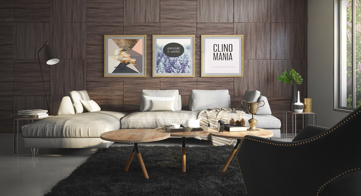 This beautiful living space goes against the grain, using both vertically and horizontally aligned wood panels to create a subtle focal point that draws the eyes toward the artwork. A line of all-vertical wood panels subtly separates the lounging area from the rest of the room.