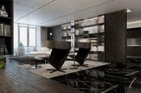 black marble floor   Interior Design Ideas.
