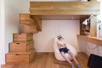 kids loft bedroom with storage