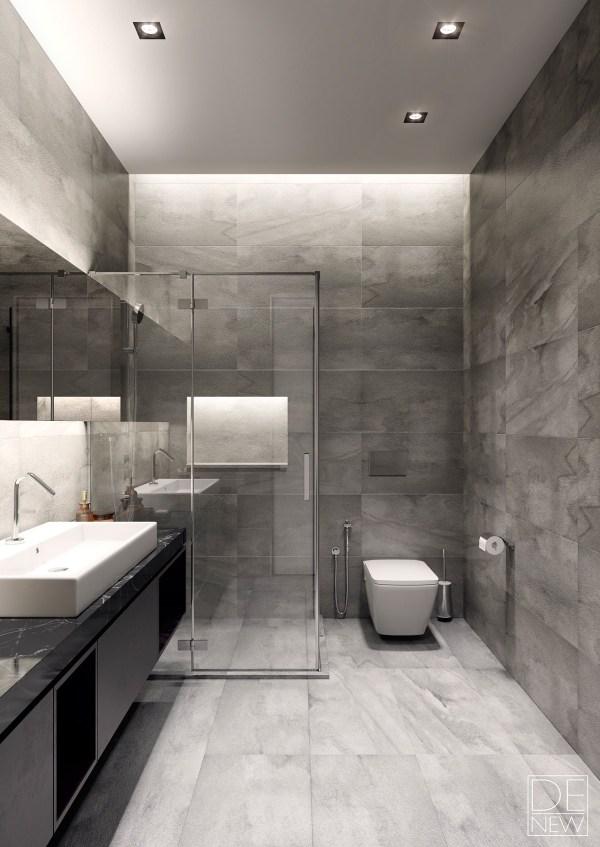 Grey Gray Modern Bathroom Design Ideas