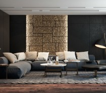 This stunning living room from Dzhemesyuk Design pairs dark woods and matte black walls with a stripe of dazzling gold.