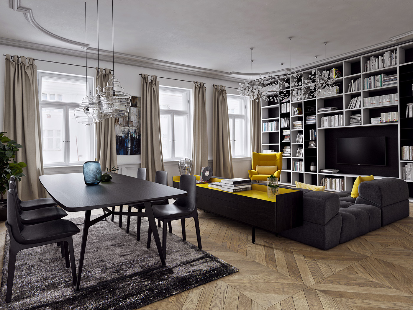 what color furniture goes with yellow walls