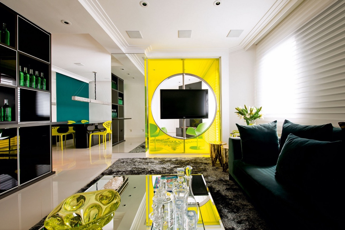 black and yellow living room