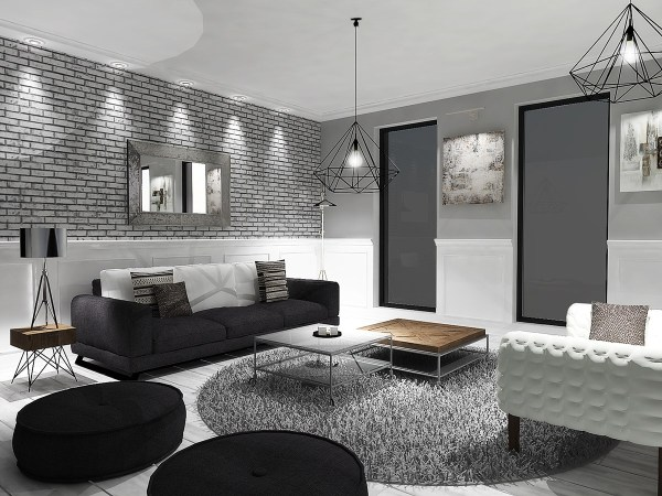 black white and gray living room 6 Perfectly Minimalistic Black And White Interiors