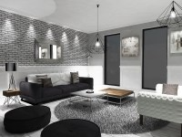 Grey Black And White Living Room
