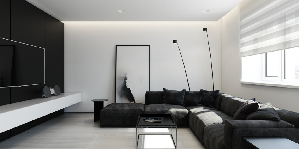 modern interior design living room black and white wooden corner units 6 perfectly minimalistic interiors