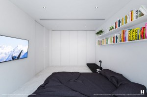 bedroom dark simple space furniture interiors appear rest colorful against features books