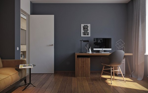 dark grey home office 5 Ideas For A One Bedroom Apartment With Study (Includes
