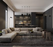 Let's start with a nice casual style. Matte black walls feel powerful but don't drown out the more subtle brown tones used throughout, making for a nice comfortable place to relax with friends and family.