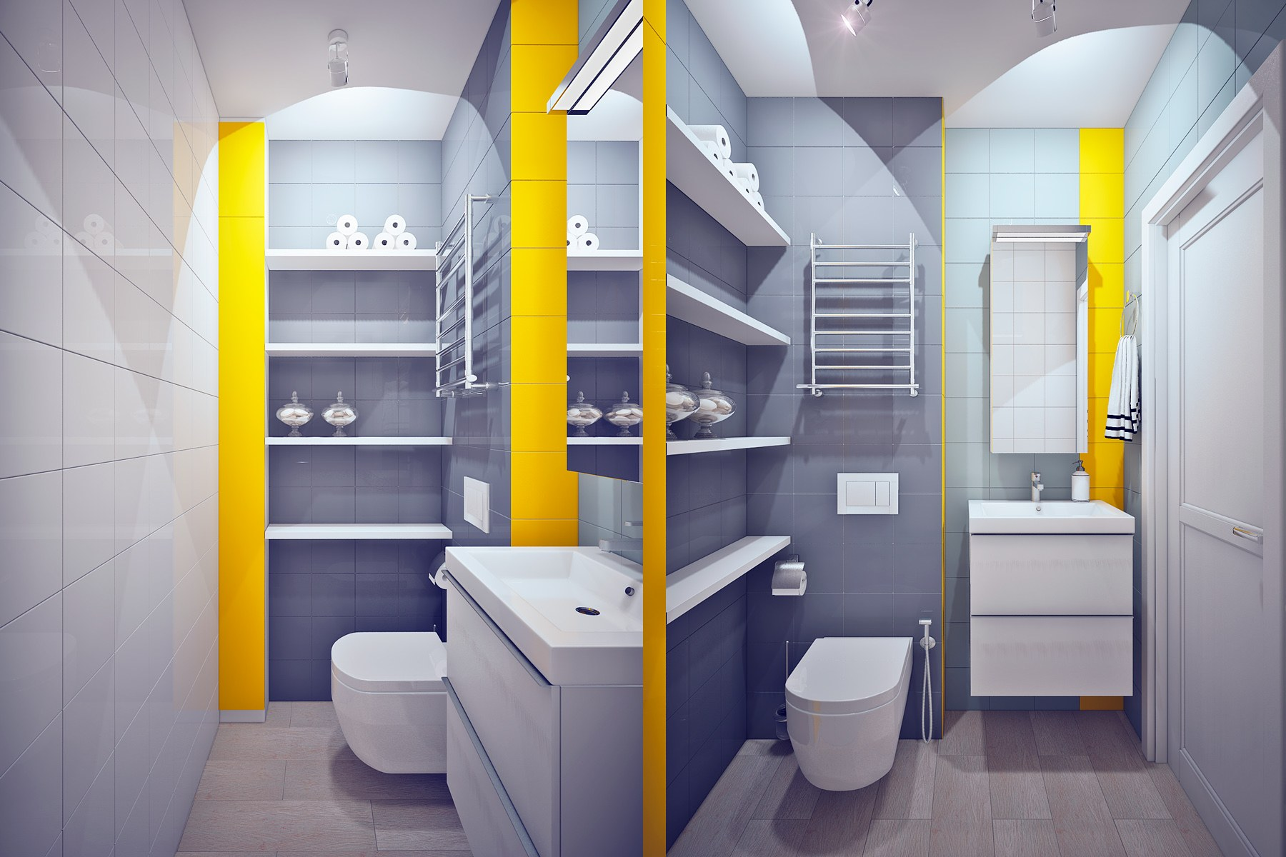 Abstract Expressionism Themed Bathroom Interior Design Ideas