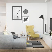 Black White and Yellow Living Room