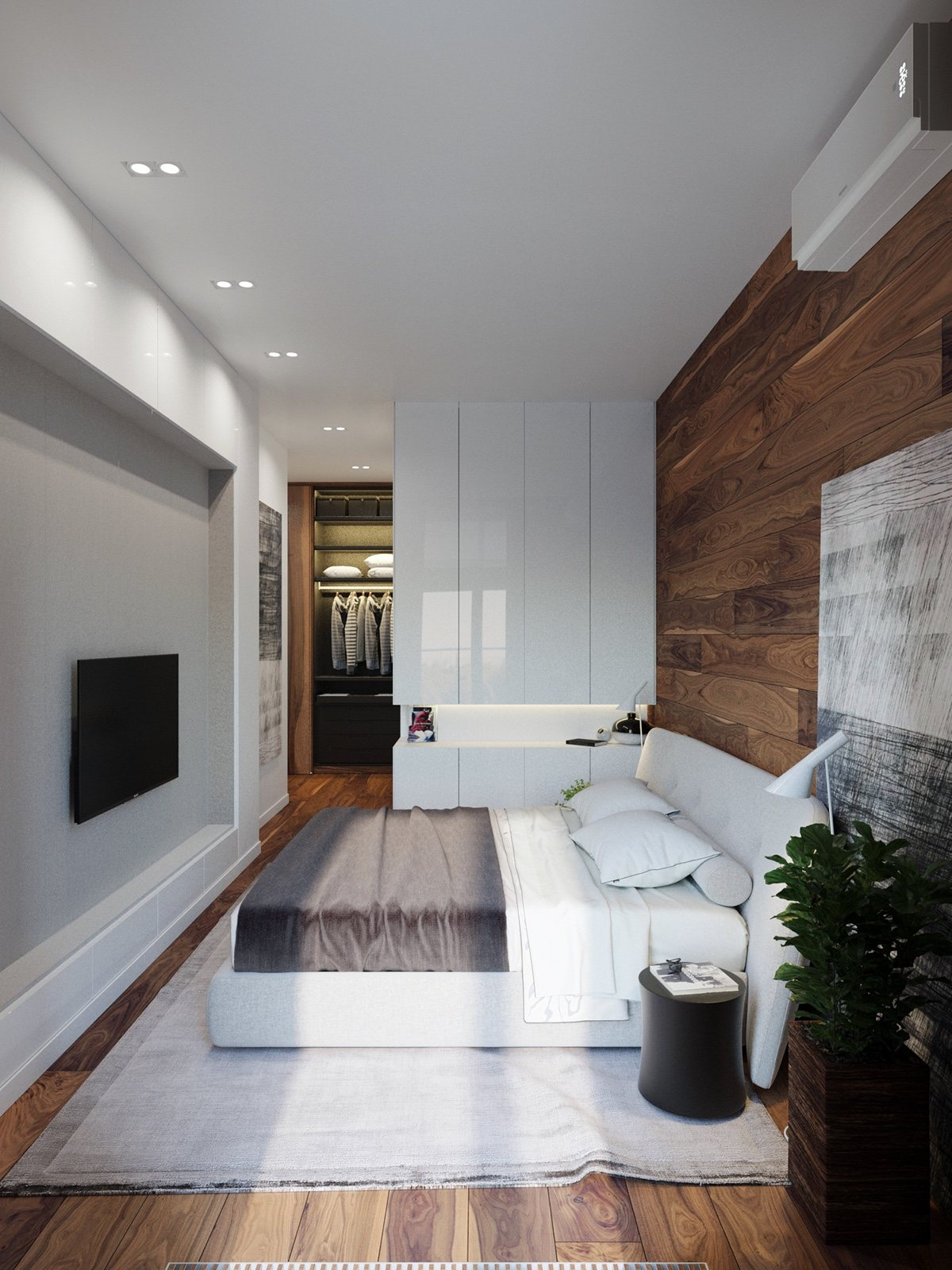 Wood Wall Bedroom