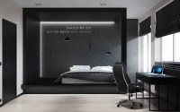 Black and white master bedroom shows the stretch of the ...