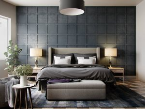 grey bedroom wall textured bedrooms bed designs feature squares anh visualizer le