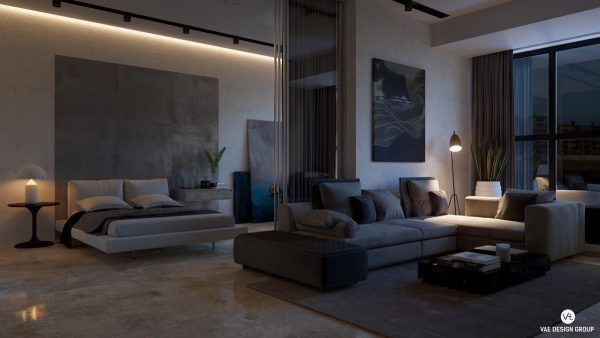 An impactful lacquer wall gorgeous marble coffee table and line lighting guide visitors through the space black furniture in the living room matches the