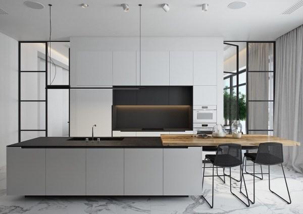 black and white wood kitchen design ideas 40 Beautiful Black & White Kitchen Designs