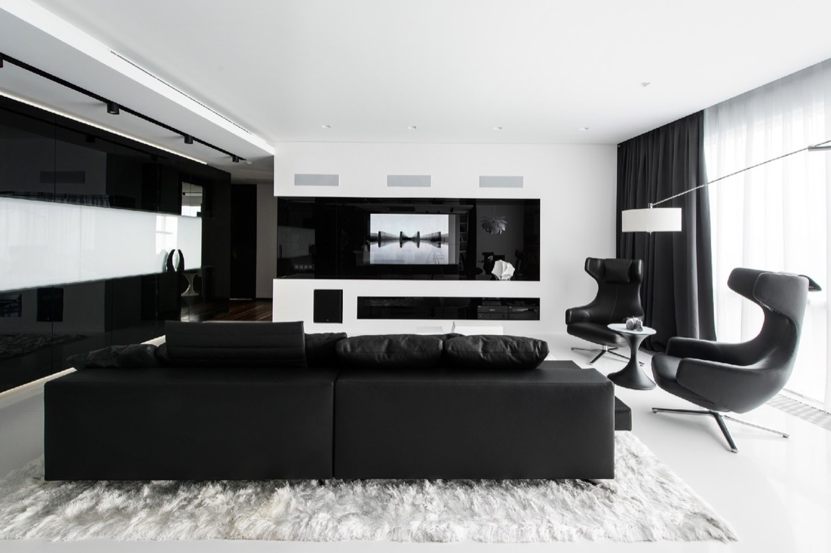 dark grey and white living room ideas furniture layouts photos 30 black rooms that work their monochrome magic 14 designer geometrix