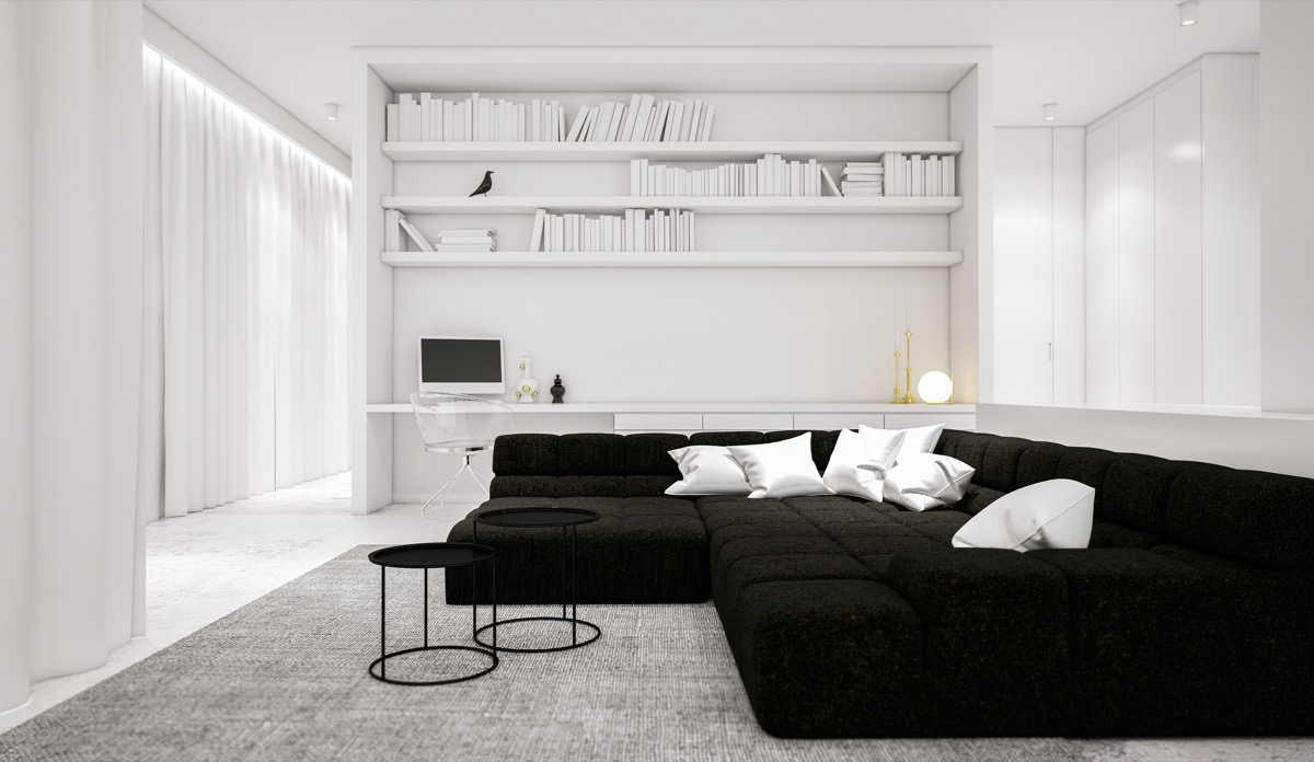 living room ideas black furniture popular carpet colors for rooms 30 white that work their monochrome magic 13