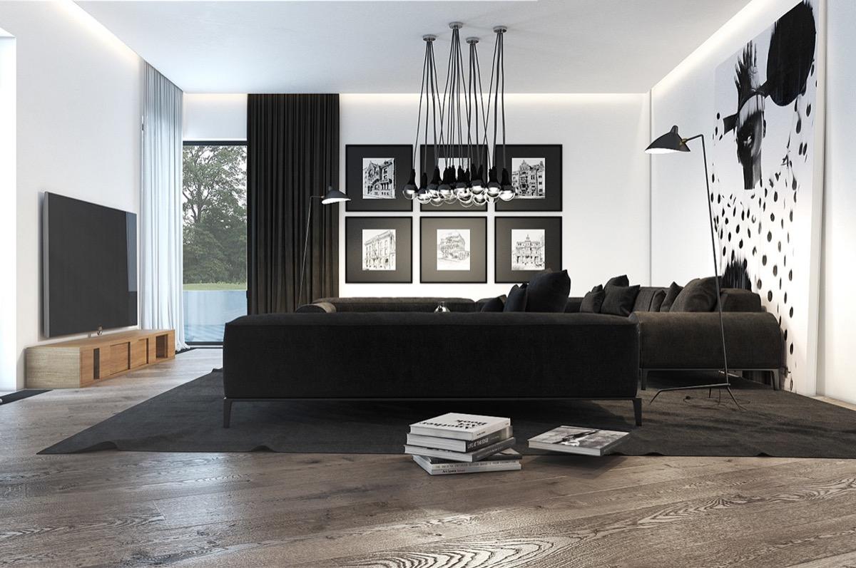 modern black living room small with corner fireplace ideas 30 white rooms that work their monochrome magic 27 visualizer stanislav kaminskyi