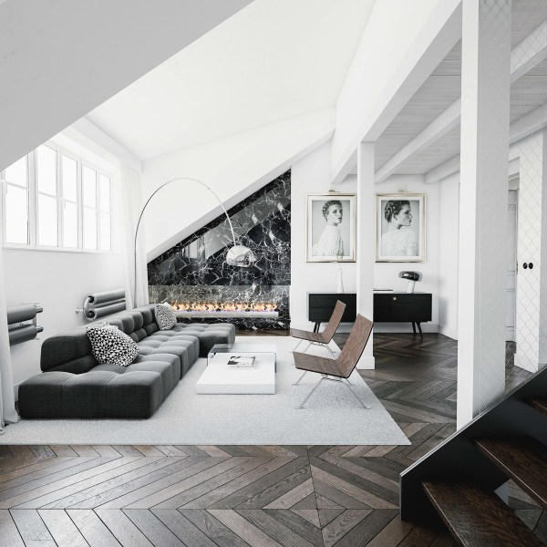 black white and gray living room 30 Black & White Living Rooms That Work Their Monochrome Magic