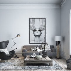 Black Glass Living Room Furniture Bench Seating Ideas 30 White Rooms That Work Their Monochrome Magic 20 Visualizer Kseniia Tkachenko