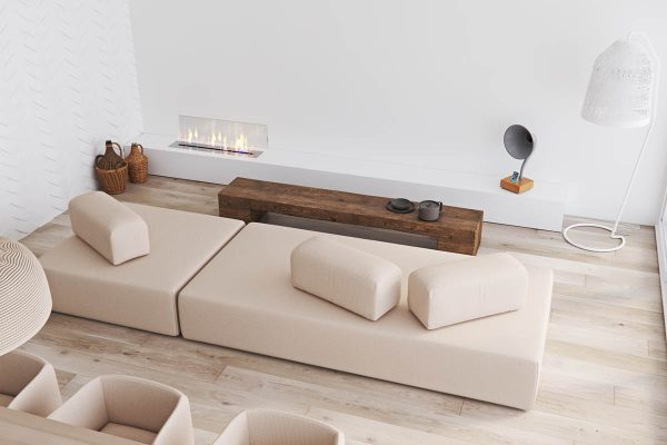 The minimalist design of this home is immediately apparent as you step into the living room from the geometric beige sofa to the unique floor lamps perched