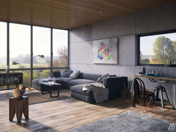 Home Designing Industrial Style Living Room Design