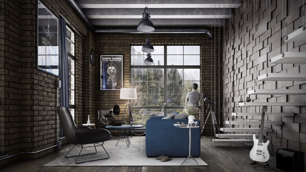 HOME DESIGNING: Industrial Style Living Room Design: The