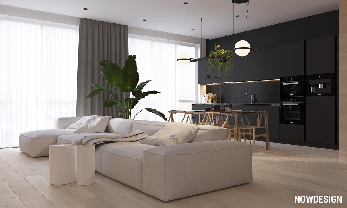 Minimalist Interior Design with Green Plant Accents