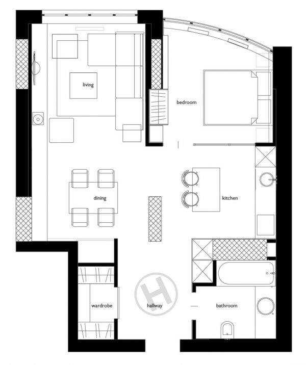 2 One-Bedroom Home Apartment Designs Under 60 Square