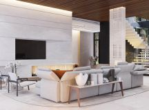 A Luxury Apartment with Comfortable Furniture and a Double Height Ceiling