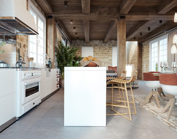 A White Range Cooker Blends In With The White Kitchen Units.