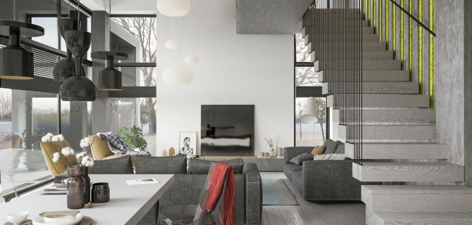 A Two-Story Home with a Sleek Grey Color Palette