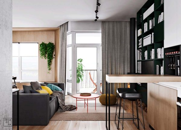 A Door Leading Out Onto A Small Balcony Bathes The Living Room In Natural  Light. A Bright Coffee Table Has Been Situated In The Obvious A To B  Walkway To ...